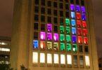 tetris sur la façade d'un immeuble par les étudiants du MIT