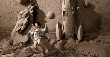 sculpture de sable pour la publicité de la marque OMO