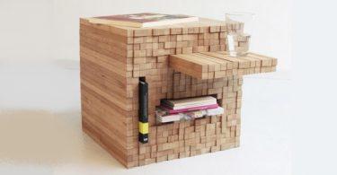 table basse en bois Pixel d'Intussen Studio