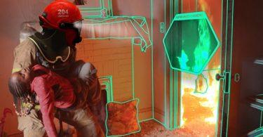 casque de pompier futuriste