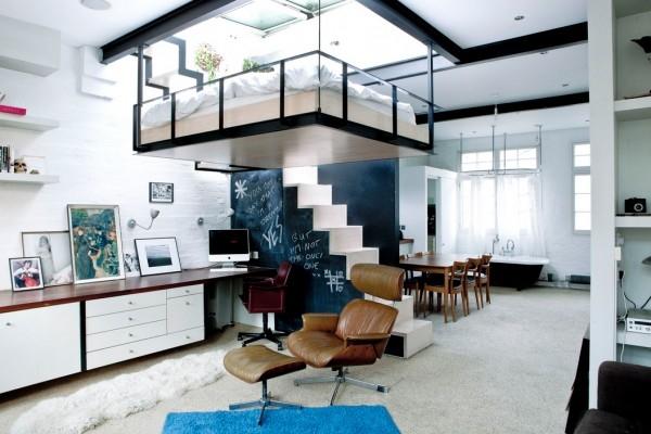 lit suspendu au plafond