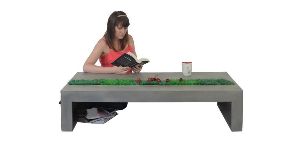 table basse béton avec herbe