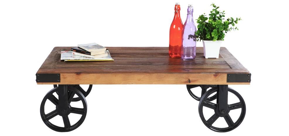 table basse bois à roulette